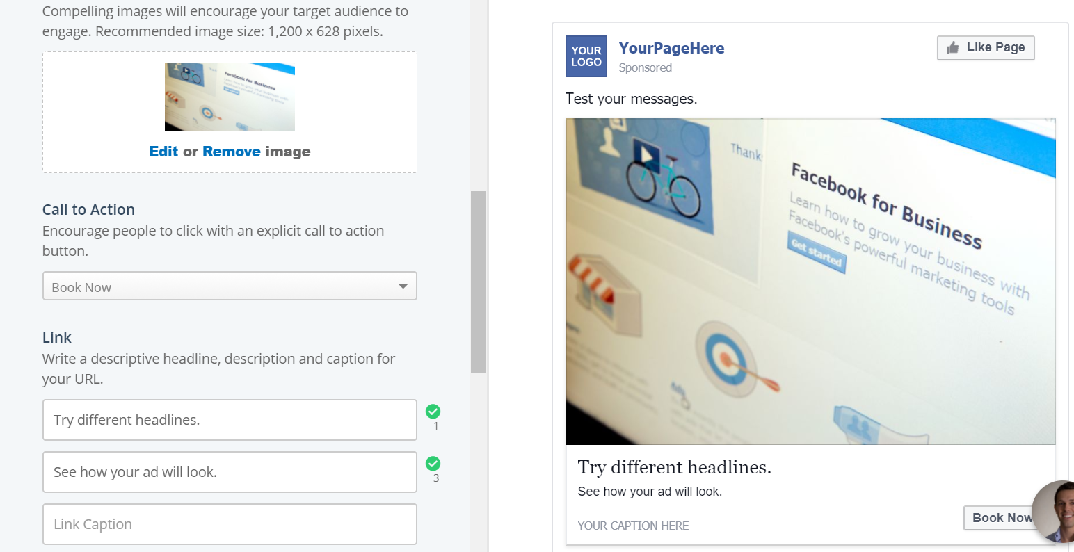 Writing Facebook Ads Mock Up Generator